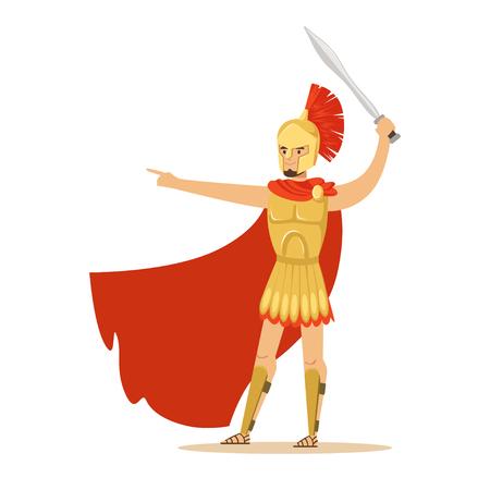 黄金の鎧と剣、ギリシャの兵士のベクトル図でジェスチャーの赤いマントのスパルタ戦士の文字  イラスト・ベクター素材