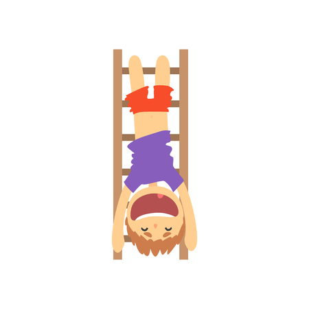Sportive boy hanging upside down on a ladder, kids physical activity cartoon vector Illustration Çizim