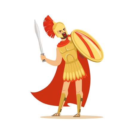 Spartan warrior character in golden armor and red cape holding shield and sword, Greek soldier vector Illustration
