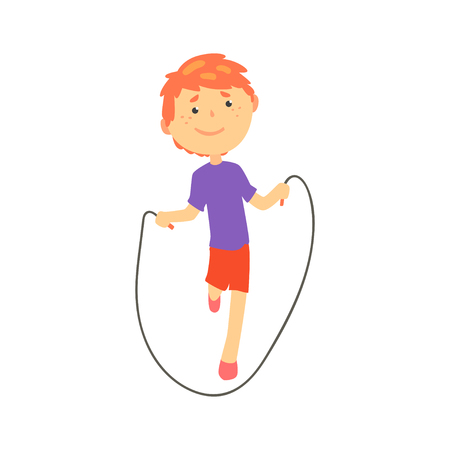 Sportive boy jumping with a rope, kids physical activity cartoon vector Illustration