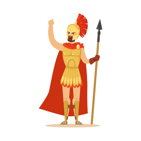Spartan warrior character in armor and red cape with spear raised up clenched fist, Greek soldier vector Illustration Vectores