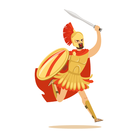 Spartan warrior character in armor and red cape fighting with shield and sword, Greek soldier vector Illustration Illustration