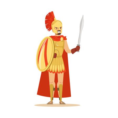 黄金の鎧と盾と剣、ギリシャの兵士のベクトル図の赤いマントのスパルタ戦士の文字