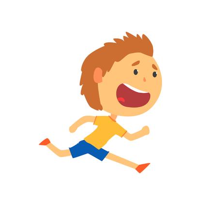 Happy boy running, kids physical activity cartoon vector Illustration 向量圖像