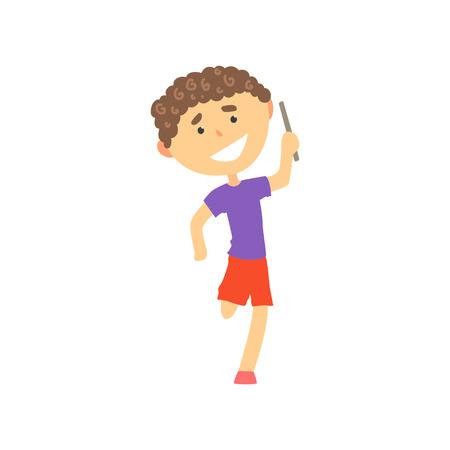 幸せな少年駅伝大会に参加している子供の身体活動の漫画のベクトル図