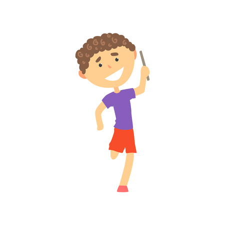 Happy boy participating in a relay race, kids physical activity cartoon vector Illustration Illustration