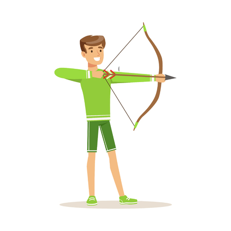 Male archer character standing with bow and aiming to the target, active sport lifestyle vector Illustration Çizim