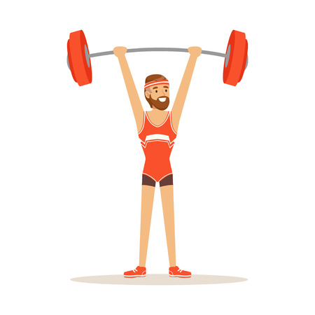 Male athlete character holding barbell on the raised hands, active sport lifestyle vector Illustration
