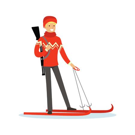Mannelijke biathlete skiër karakter, actieve sport levensstijl vector illustratie