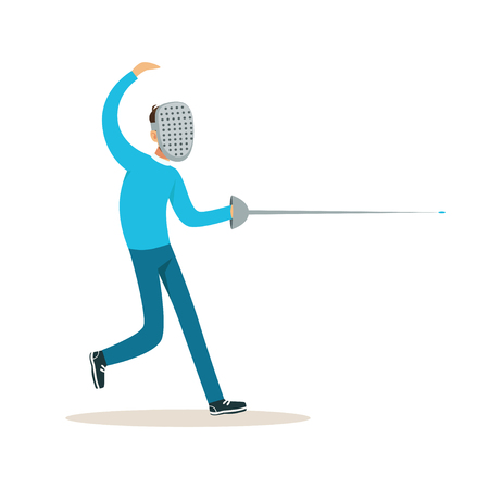 Male fencing athlete character practicing with sword, active sport lifestyle vector Illustration Vettoriali