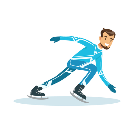 Short track speed male skater athlete character in sportswear, active sport lifestyle vector Illustration Çizim
