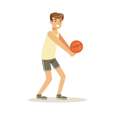 Male athlete character playing volleyball, active sport lifestyle vector Illustration Illustration