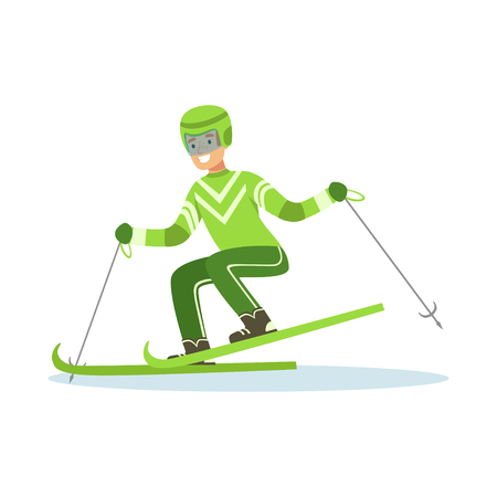 Male athlete character in sportswear skiing, active sport lifestyle vector Illustration Illustration