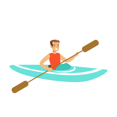 Male athlete character maneuvering kayaking, active sport lifestyle vector Illustration