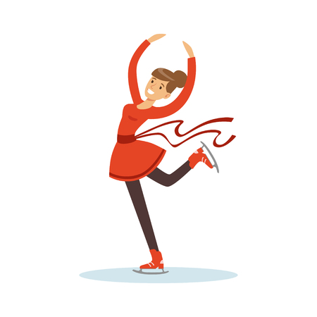 Figure skating girl training on the ice, active sport lifestyle vector Illustration