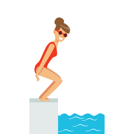Female swimmer jumping in swimming pool, active sport lifestyle vector Illustration Çizim
