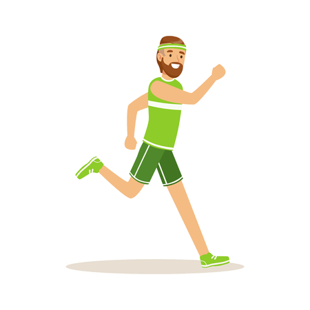Male athlete character running, active sport lifestyle vector Illustration