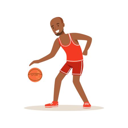 男子バスケット ボール プレイヤー キャラクター、アクティブなスポーツ ライフ スタイルのベクトル図