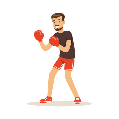 knocking: Male athlete player character boxing, active sport lifestyle vector Illustration