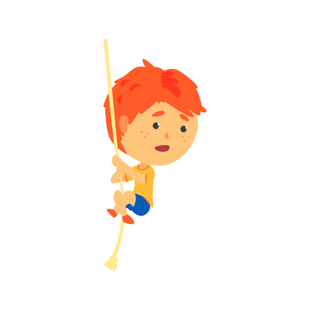 Redhead boy climbing up the rope, kids physical activity cartoon vector Illustration Ilustração