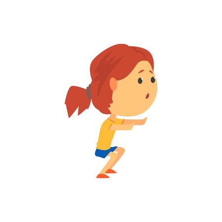 Cute sportive girl squatting, kids physical activity cartoon vector Illustration