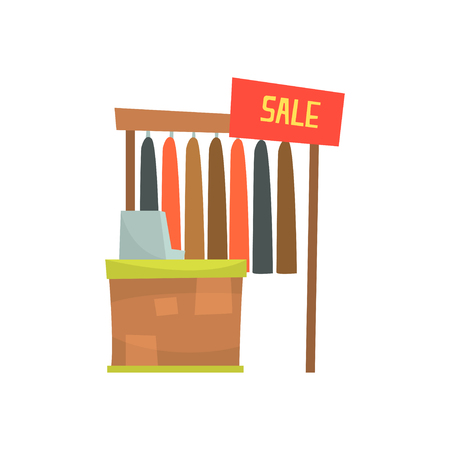 Clothing store with cash desk, sales counter in shop cartoon vector Illustration Illustration