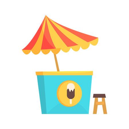 Ice cream kiosk, market stall for external usage cartoon vector Illustration
