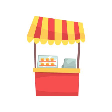 Eten kraam met cupcakes en snoep, vaste marktkraam voor extern gebruik cartoon vector illustratie geïsoleerd op een witte achtergrond Stock Illustratie