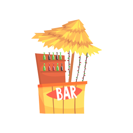 Beach bar stall, outdoor counter with a thatched roof cartoon vector Illustration isolated on a white background