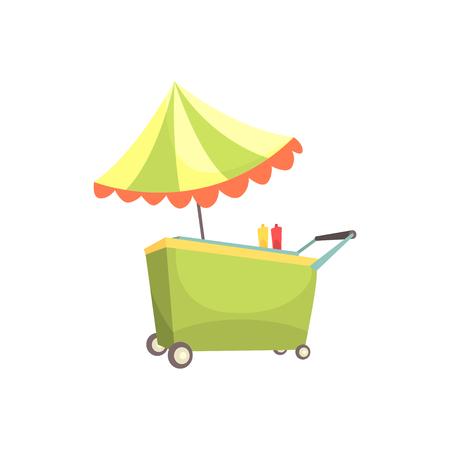 Fast food kiosk on wheels, market stall for external usage cartoon vector Illustration Vettoriali