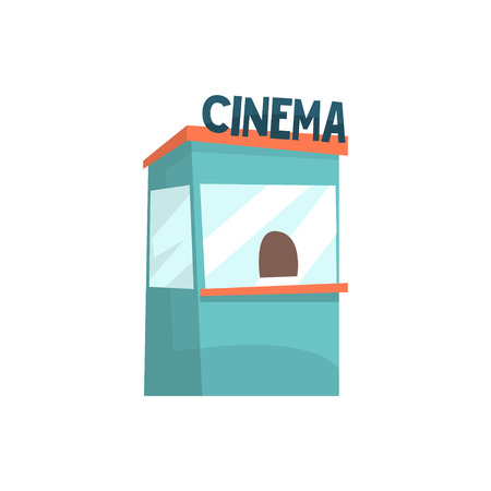 Cinema ticket booth, box office, kiosk cartoon vector Illustration isolated on a white background Illustration