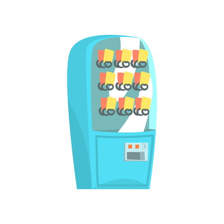 Blue vending machine, automatic seller cartoon vector Illustration