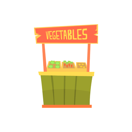 Traditional wooden kiosk with vegetables, fixed market stall for external usage cartoon vector Illustration Ilustrace