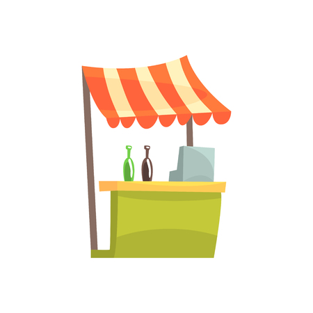 Food stall with drinks, fixed market stall for external usage cartoon vector Illustration Vectores