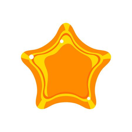 Golden cartoon glossy star vector Illustration