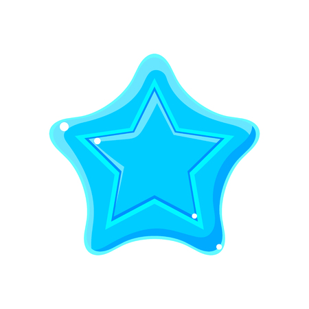Light blue cartoon glossy star vector Illustration isolated on a white background