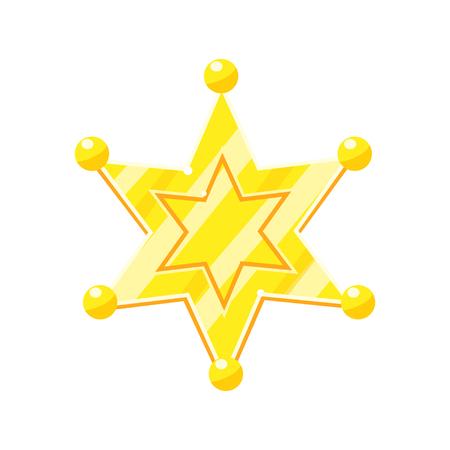 Sheriff maarschalk gouden cartoon glanzende ster vector illustratie geïsoleerd op een witte achtergrond Stock Illustratie