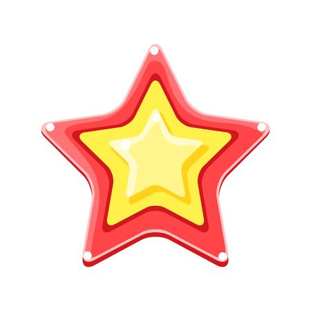 Helder gekleurde cartoon ster vector illustratie geïsoleerd op een witte achtergrond