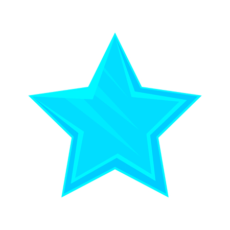 Turquoise cartoon glossy star vector Illustration isolated on a white background