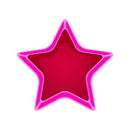 Roze cartoon ster vector illustratie geïsoleerd op een witte achtergrond