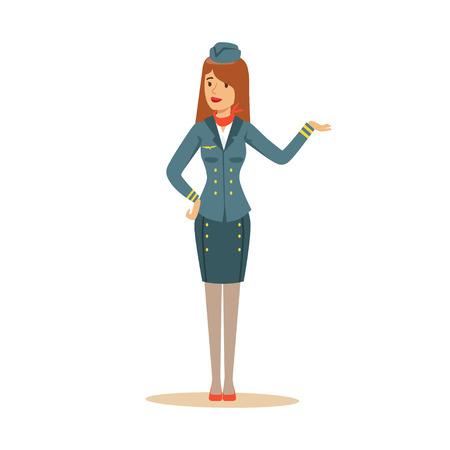 Stewardess in uniform een ??welkom gebaar doen. Stock Illustratie