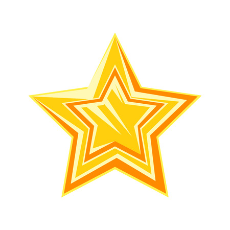 Golden cartoon glossy star vector Illustration isolated on a white background