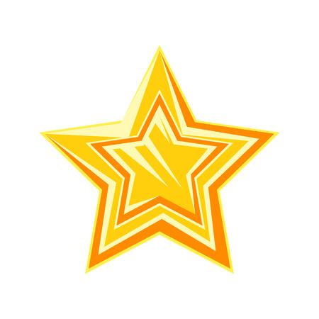 Gouden cartoon glanzende ster vector illustratie geïsoleerd op een witte achtergrond