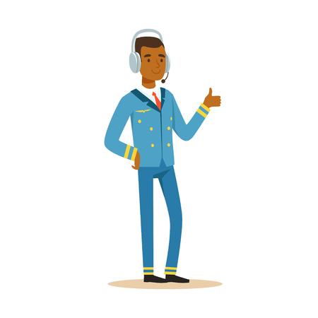 파란색 유니폼과 헤드셋 확인 기호, 항공기 캡틴 벡터 그림 흰색 배경에 웃 고 항공사 파일럿 문자를 웃 고