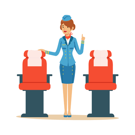 Stewardess character in uniform with airplane seats.