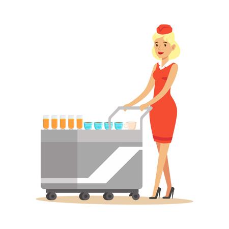 Hôtesse en uniforme rouge servant des passagers dans l'avion avec le chariot. Banque d'images - 88088174