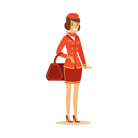 Smiling beautiful stewardess character in red uniform with bag.
