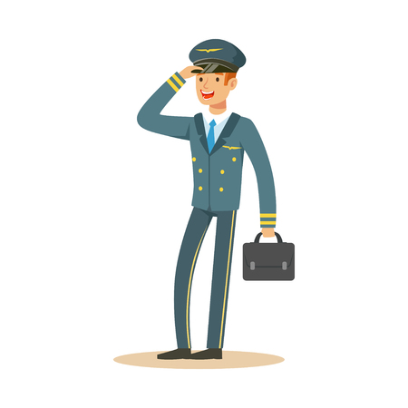 Smiling airline pilot character in blue uniform wuth briefcase, aircraft captain vector Illustration