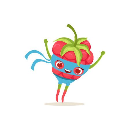 Cartoon character of superhero raspberry with hands up Illustration