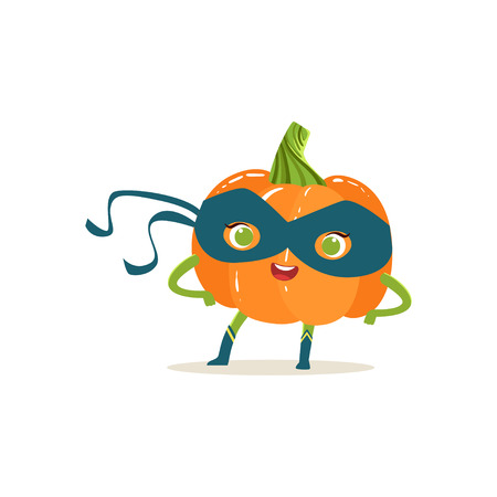 Cheerful cartoon character of superhero pumpkin in classic comics blue mask with arms akimbo. Vegetable with super powers. Flat vector isolated on white. For card, kid t-shirt, book illustration. Illustration